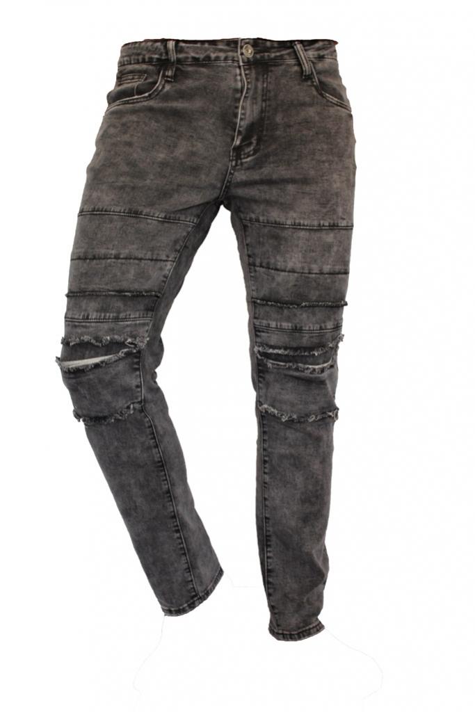 Spodnie jeansy, dzinsy, męskie Stalowe darte cięte