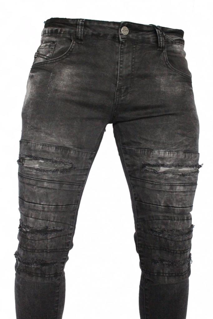 Spodnie męskie jeansy dżinsy czarne darte KA700