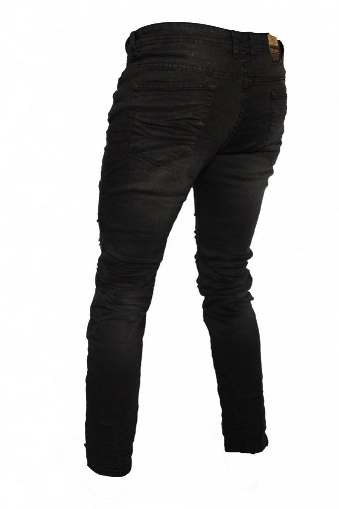 Spodnie męskie jeansy wycierane czarne cięte