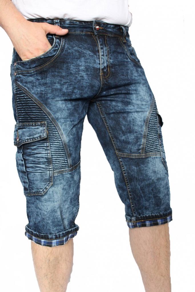 Szorty spodenki męskie jeans bojówka ciemna DTGREEN